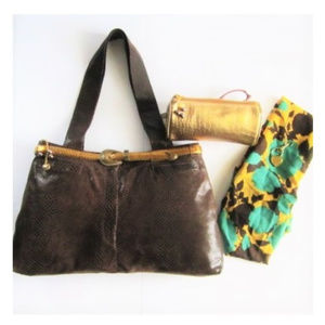 Brown Bag Leather Upcycled Jeans with acceccories
